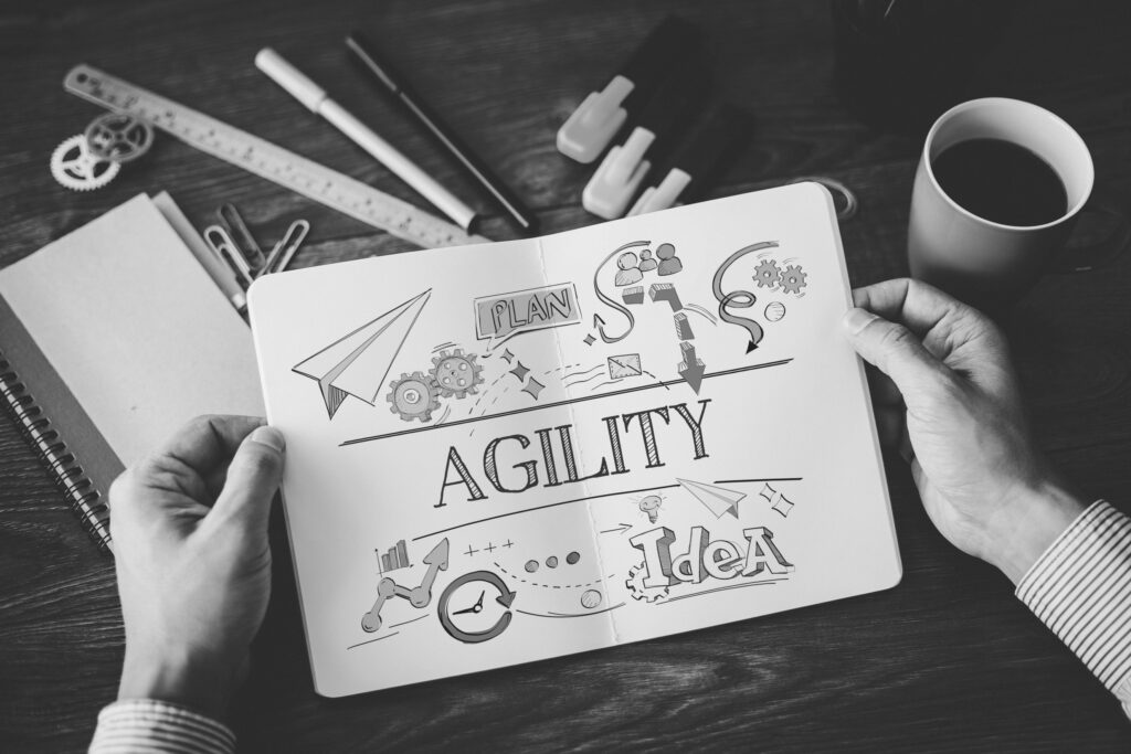 graphik with the word Agility and some agile drawings